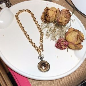 CHANEL Jewelry - Authentic Chanel button necklace/Pearl.